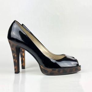 Black Paten Peep Toe Cheetah Pump Heels | 7